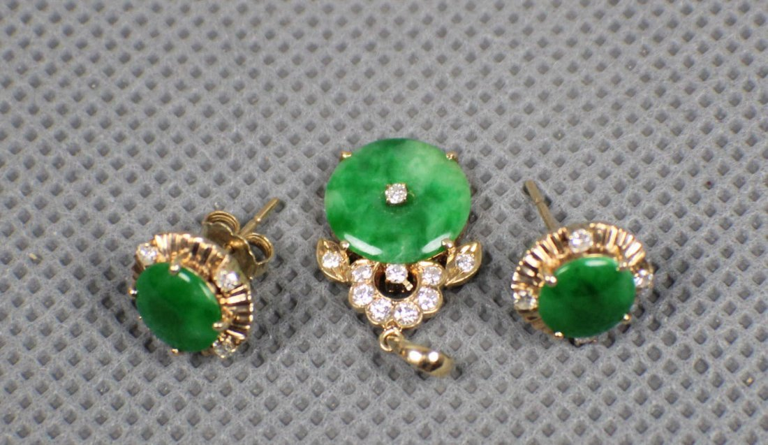 14K Gold diamond A Green Jadeite earrings and Pendant