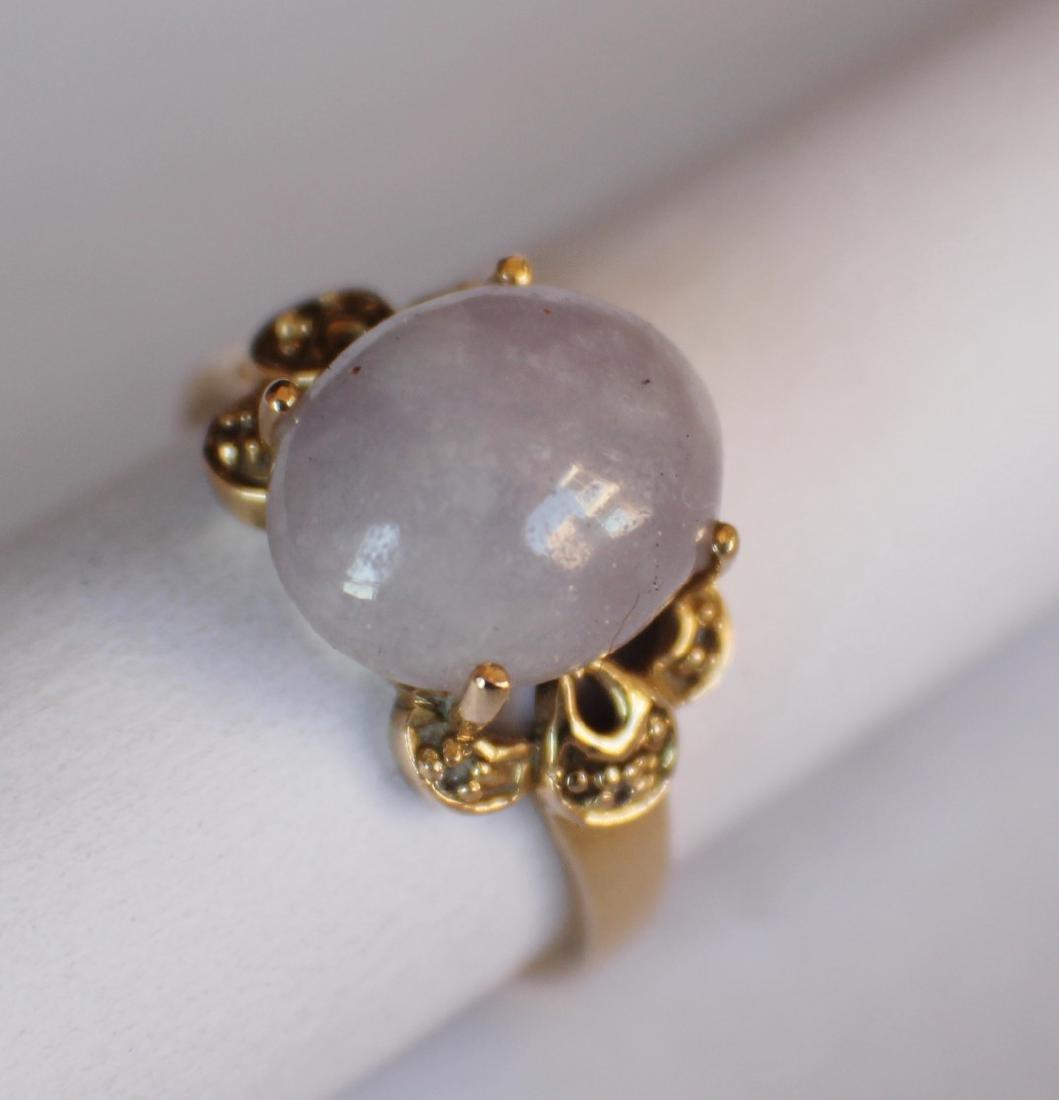 A 14K Gold Pupple Jadeite Ring - 2