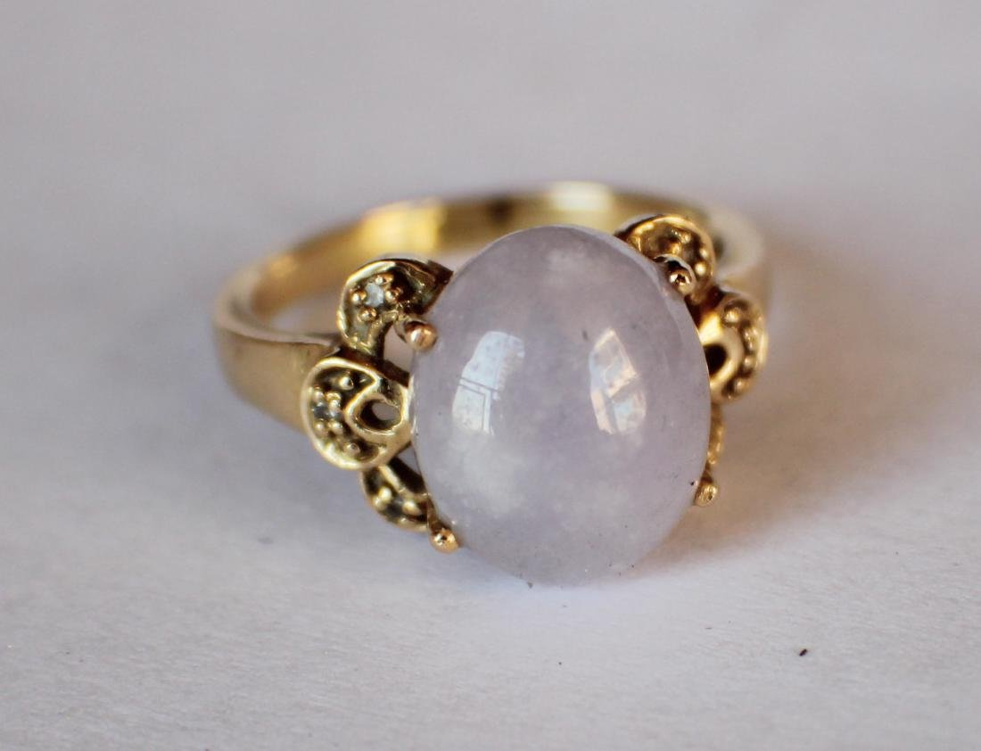A 14K Gold Pupple Jadeite Ring - 3