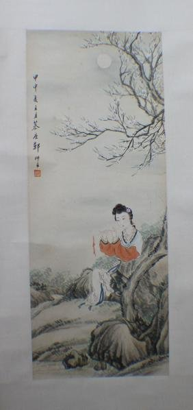 A Chinese Painting Scroll of A Lady Flute
