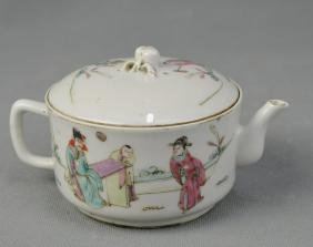 A Hand-painted Famille Rose Gild Teapot in Figure