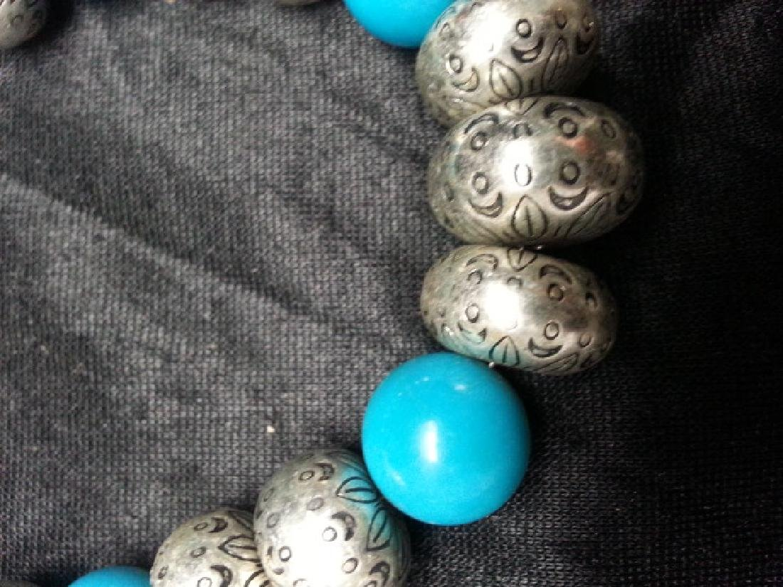 Turquoise silver NECKLACE - 4