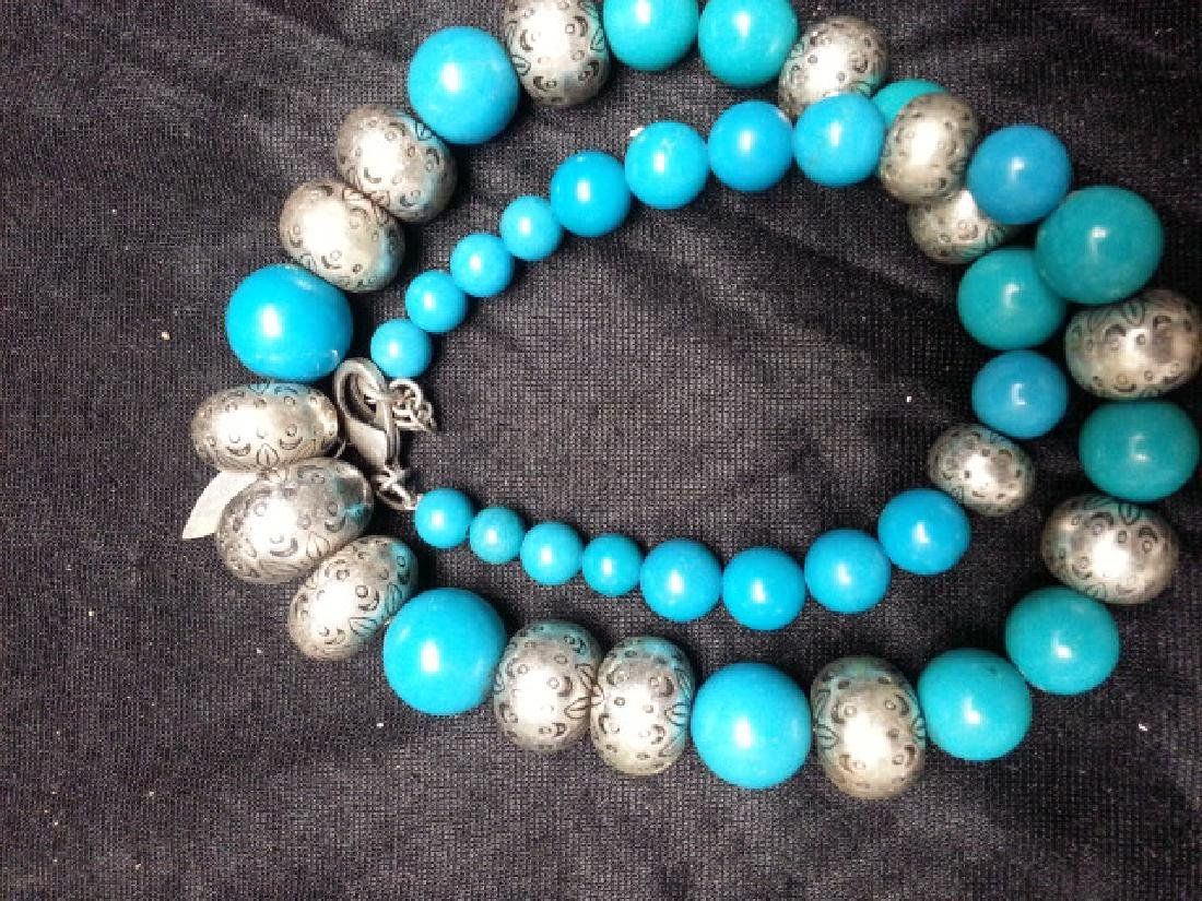 Turquoise silver NECKLACE - 5
