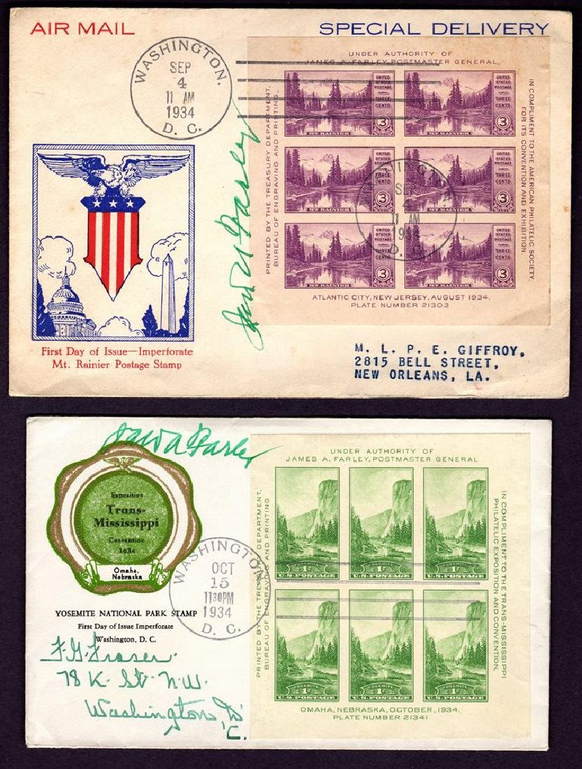 James A. Farley Signed Scott 750-751 on Covers