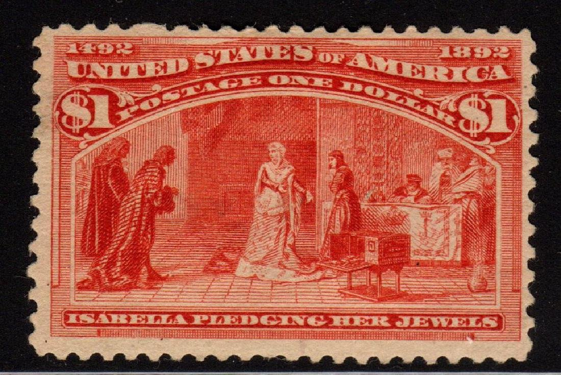 United States Scott 241 Fine OG H $1 Columbian