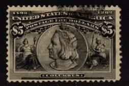 United States Scott 245 Fine Used $5 Columbian