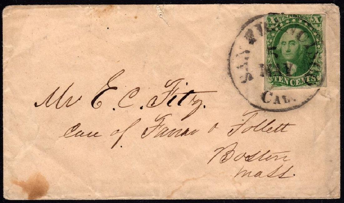 United States Scott 14 on cover from California to