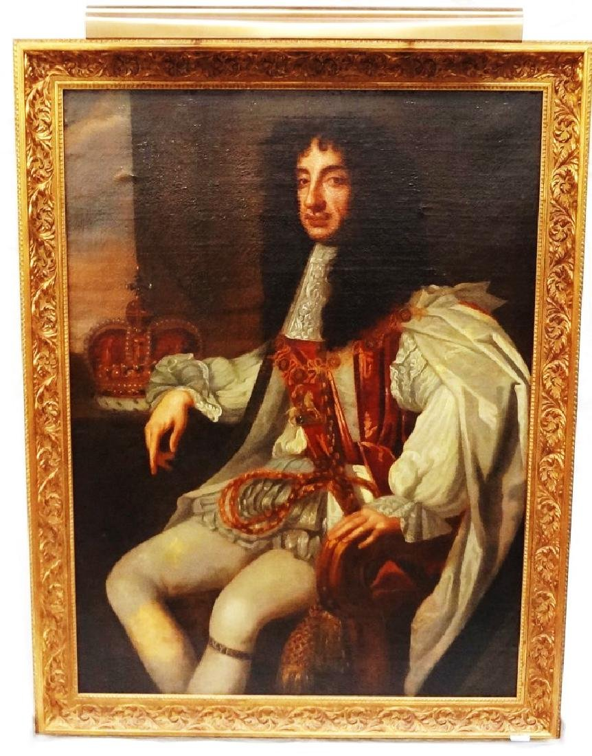 King Charles II Oil on Canvas 1800's Student