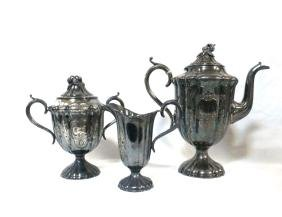 Meriden Brit'a 3 Pc Tea Set Grape Finials Britannia