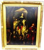 Charles I Equestrian Portrait Oil on Canvas 18th