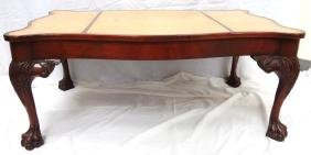 Chippendale Style Leather top Coffee Table, Ball and