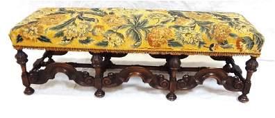 Baroque Walnut Console Bench