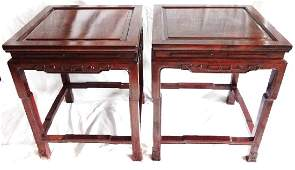 Chinese Chippendale Carved Mahogany Tea Tables