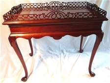 Chinese Chippendale Style Rectangular Tea Table Pierced