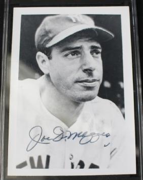 Joe DiMaggio Autographed 3x5 Snapshot SGC Grade 7