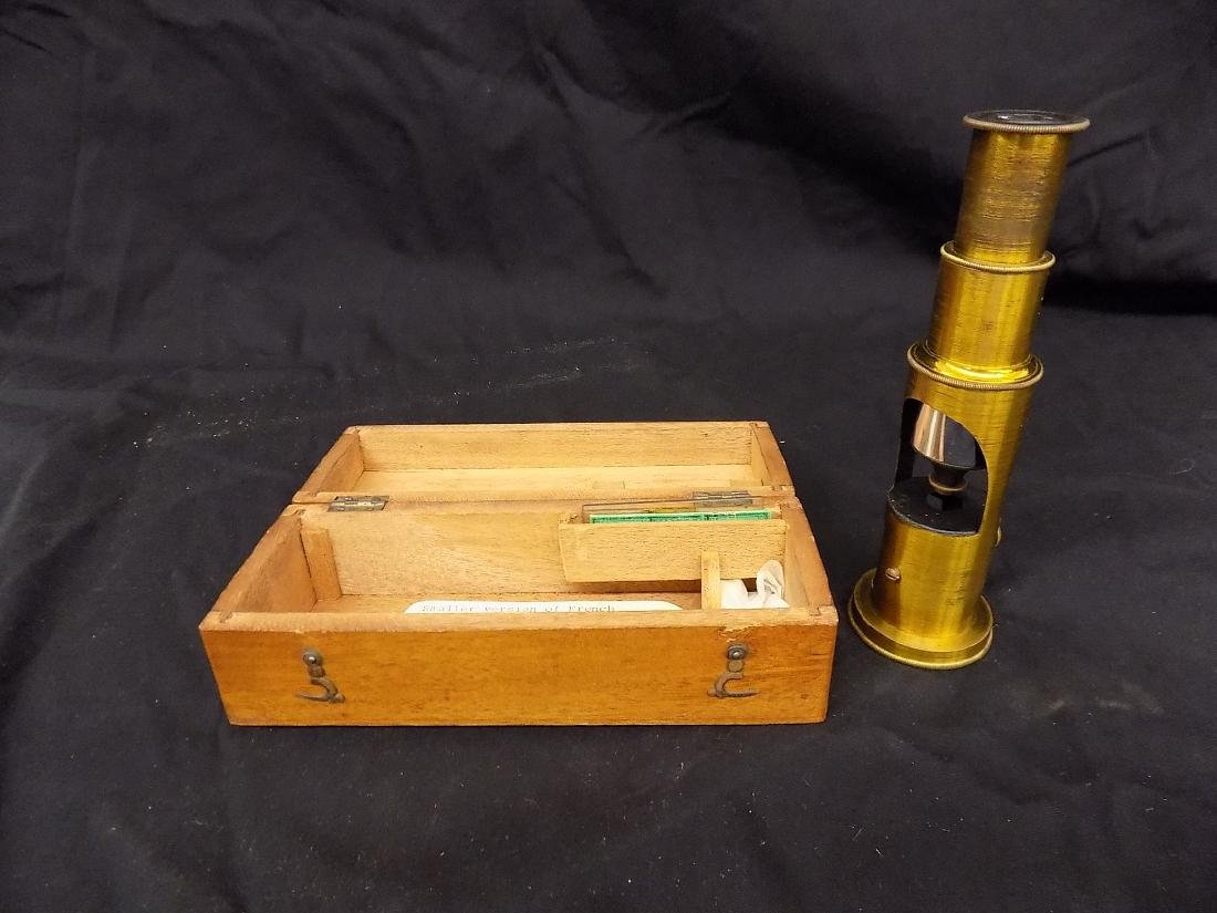 1800's Antique French Brass Field Microscope in fitted