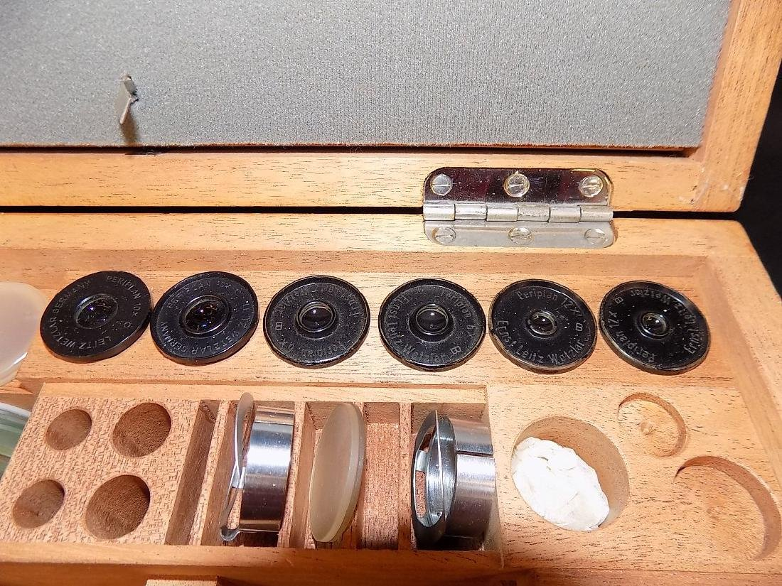 Wooden box of Leitz Eyepieces & Misc Microscope Parts - 3