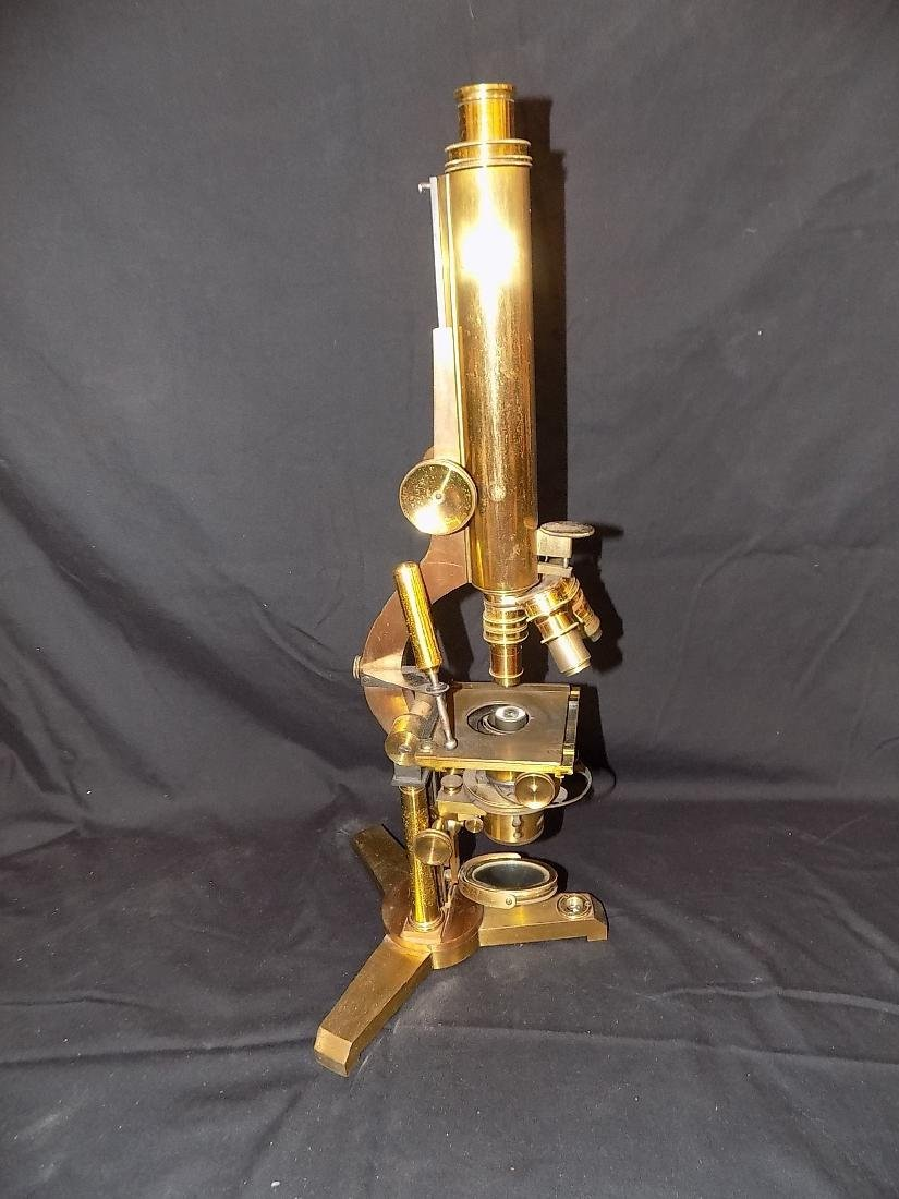 Unmarked Antique Brass Tilting Microscope 3 Objectives