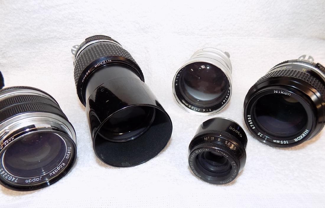 (5) Camera Lens Nikon, Nikkor, Leitz, Rodenstock +