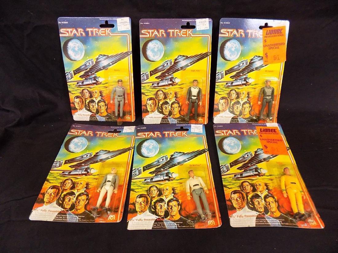 (6) Original 1979 Mego Star Trek Figures on Card Kirk,