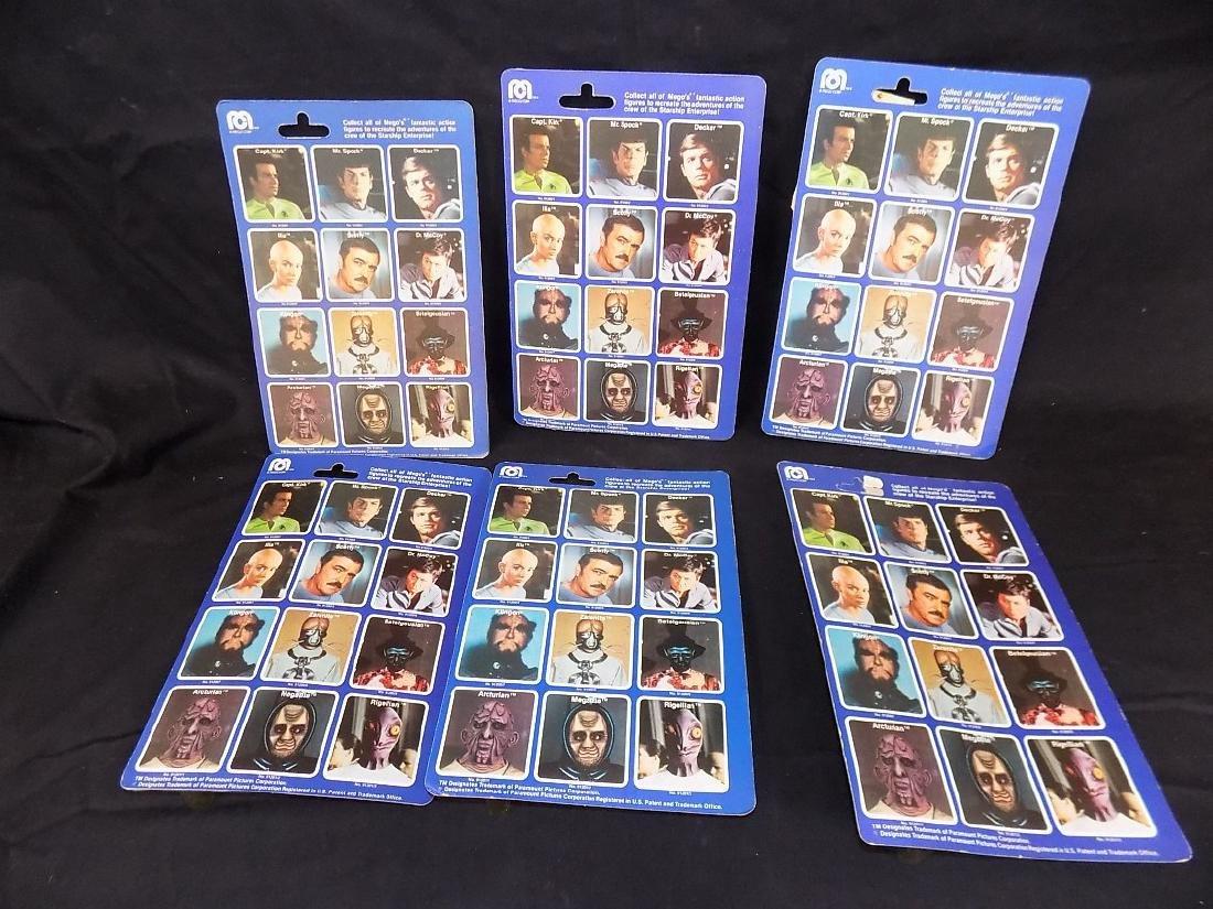 (6) Original 1979 Mego Star Trek Figures on Card Kirk, - 2