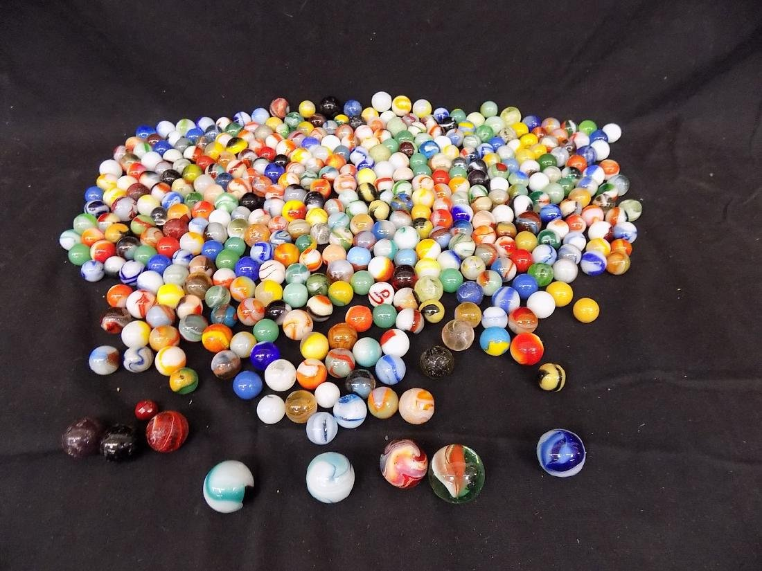 Box of Various Size and Type Marbles Est 200 pcs