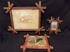 3 Vintage Wood Framed Items  Civil War Tin Type