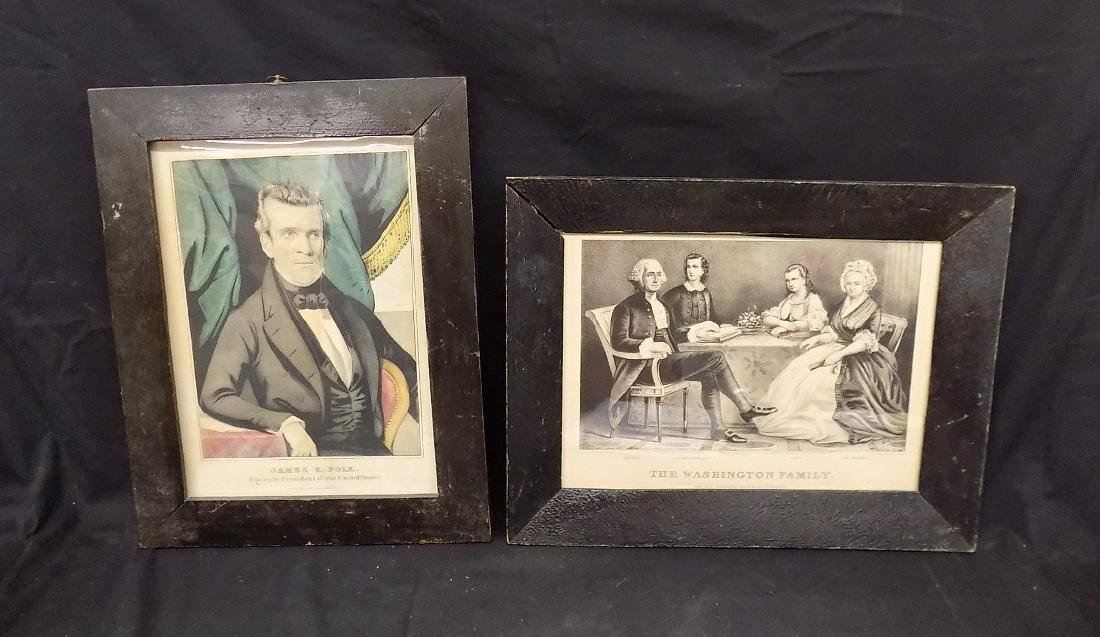 Antique Currier James K Polk Colored Lithograph Grained