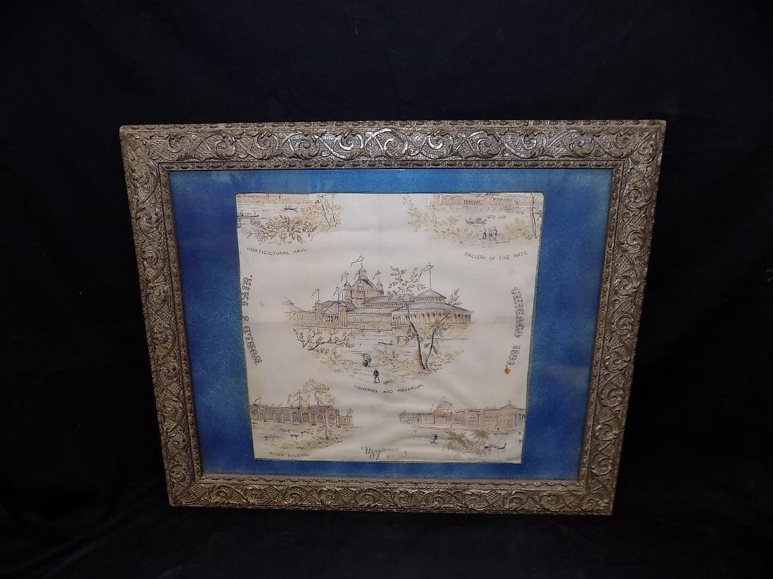 1893 Chicago World's Fair Framed Textile Fine Arts