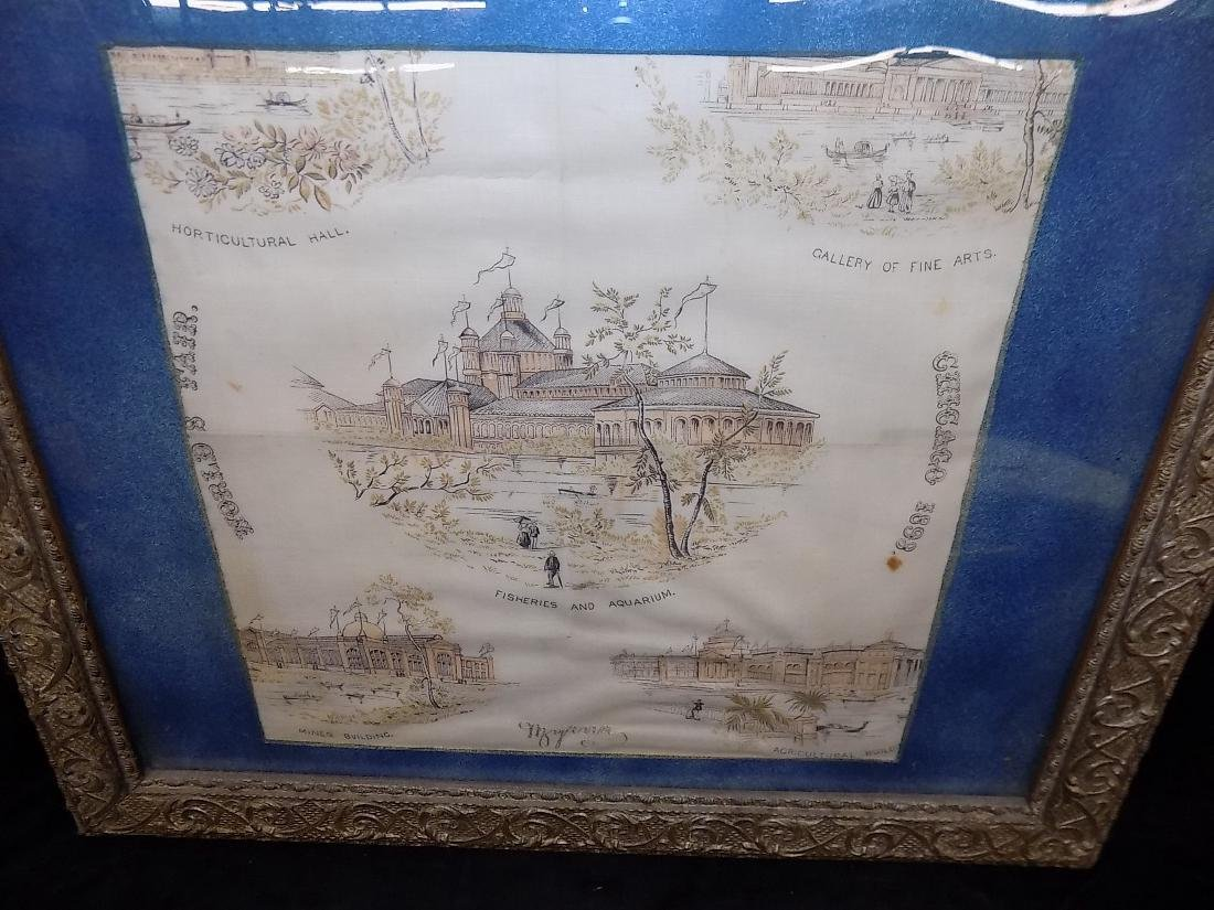 1893 Chicago World's Fair Framed Textile Fine Arts - 2