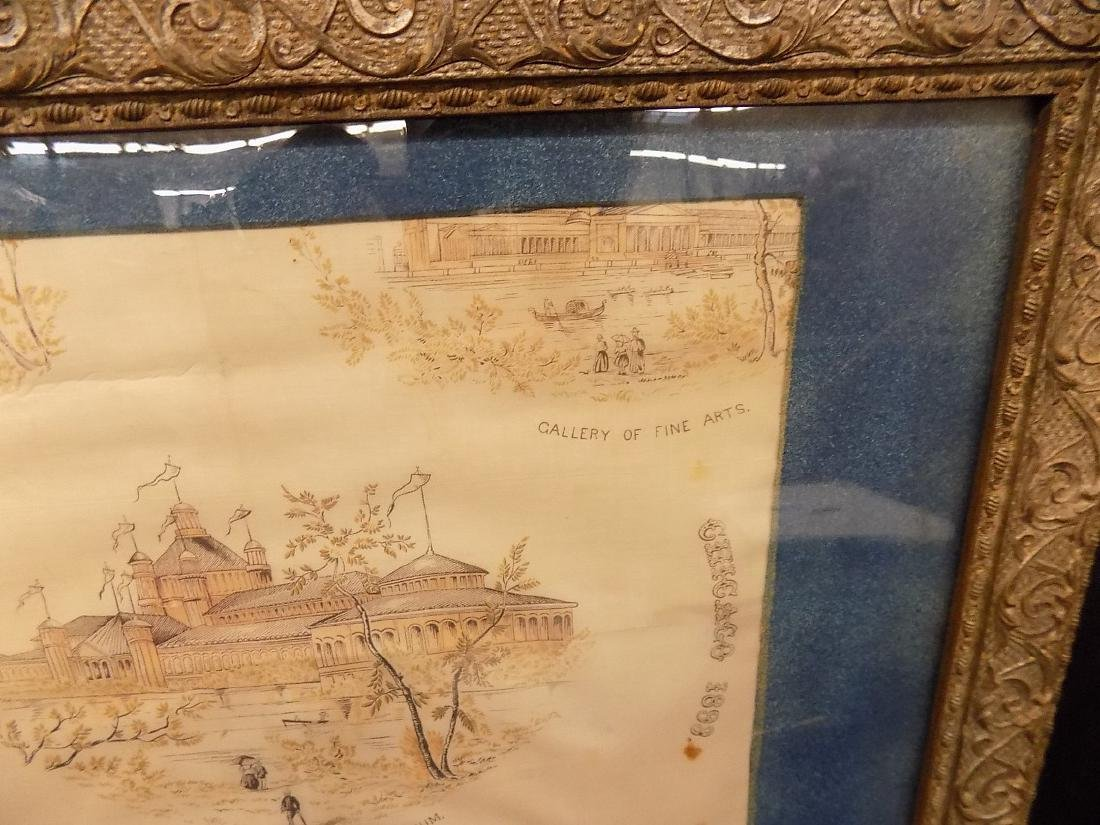 1893 Chicago World's Fair Framed Textile Fine Arts - 5