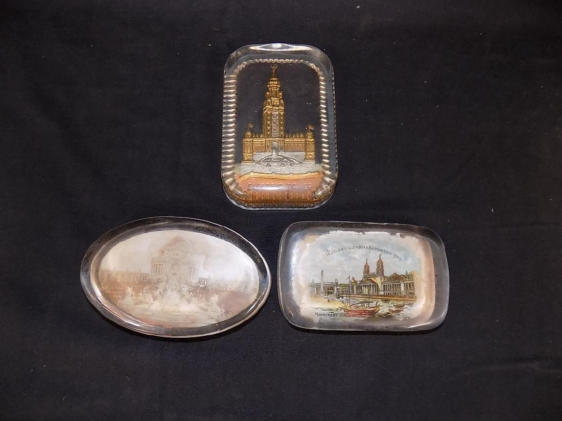 1893 Chicago World's Fair Lot of 3 Paperweights