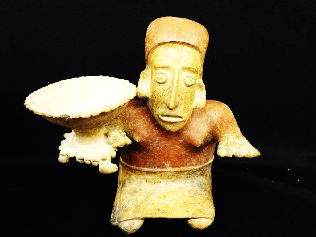 Pre-Columbian Jalisco Potery Female Effigy with Bowl