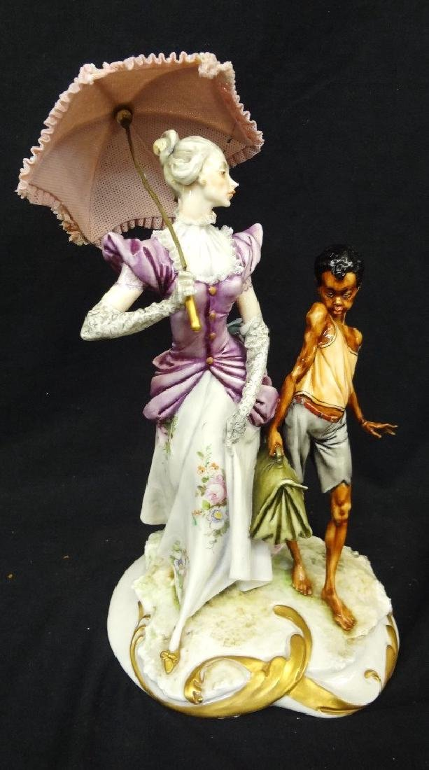 L. Motta Italian Porcelain Figural Group Lady with Lace