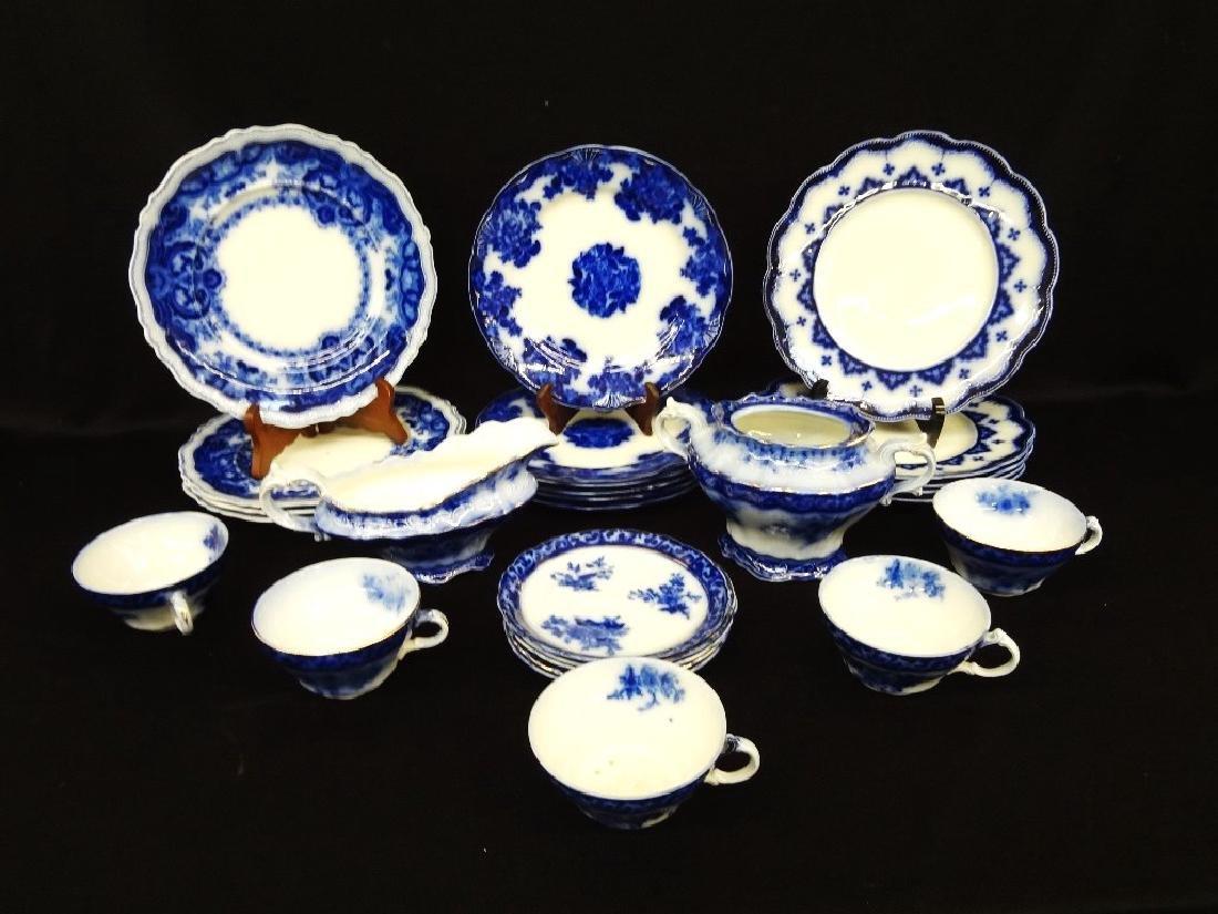 (22) Flow Blue China: Alcock, Waldorf, Johnson,