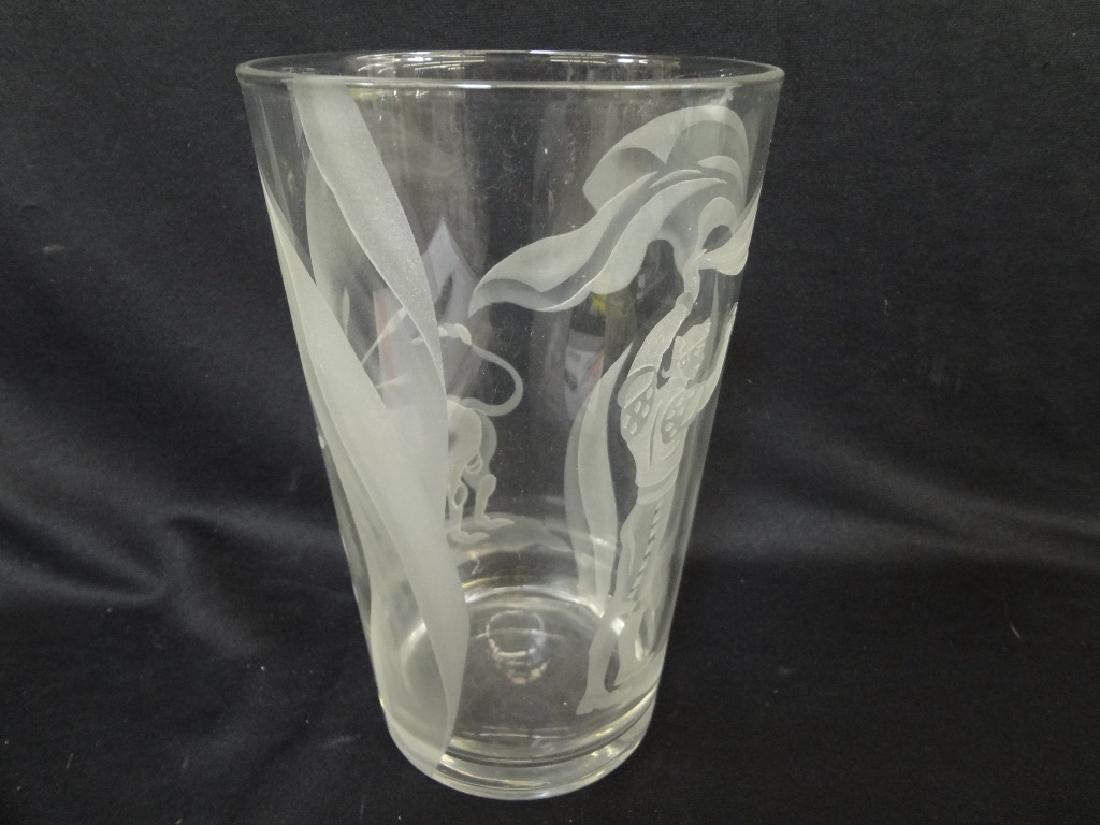"Franz Grosz Sand Etched Vase ""Matador & Bull"""
