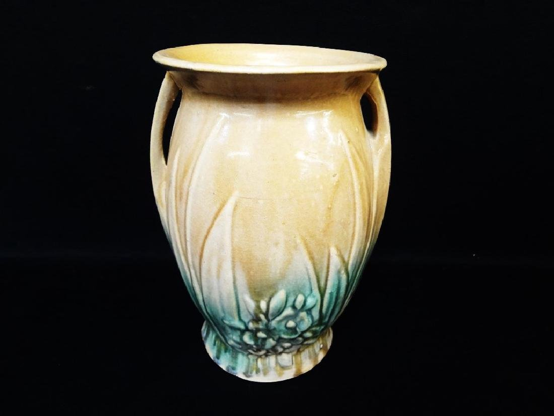Nelson McCoy Art Pottery Matte Brown, Green Lily Double