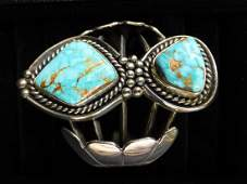 Large Native American Turquoise  Silver Cuff Bracelet