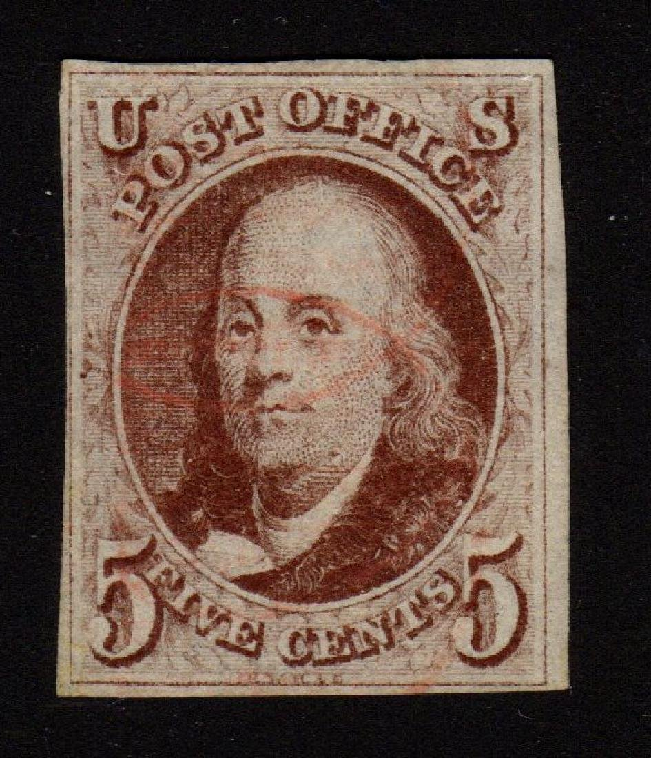U.S. Scott 1 F-VF Used 5¢ Franklin SCV.$375