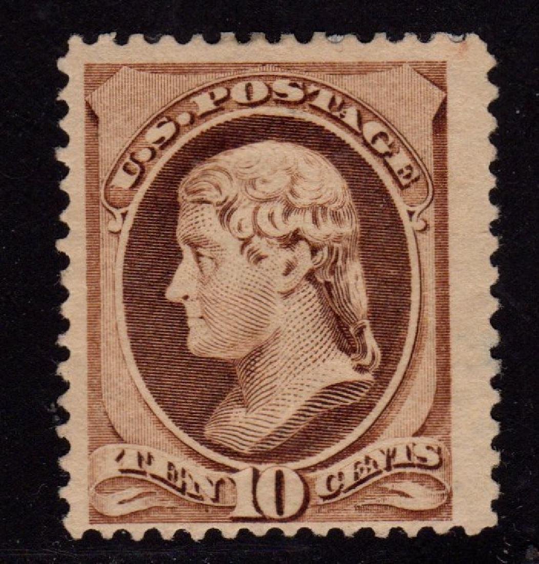 U.S.Sctt 209 Fine+ OG LH 10¢ Jefferson SCV.$160