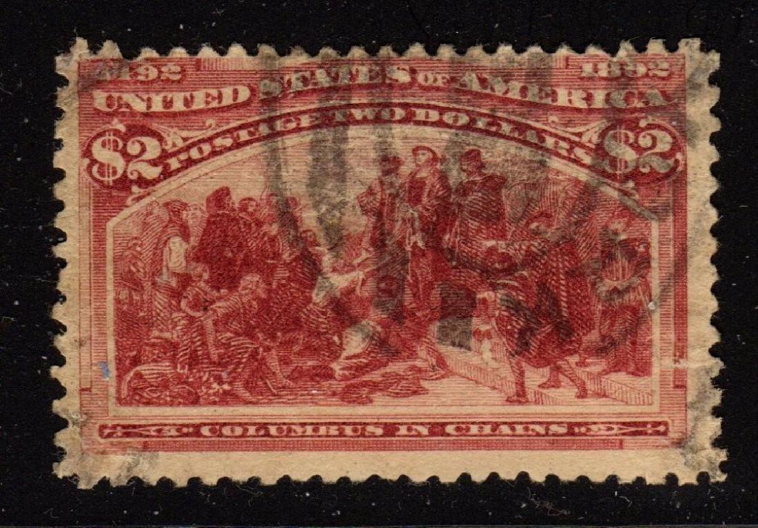 U.S. Scott 242 Fine Used $2 Colubian SCV.$525