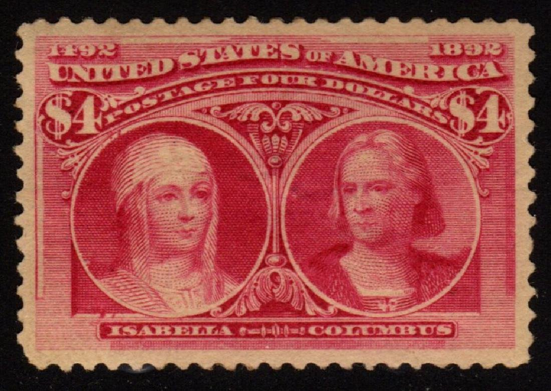 U.S.Scott 244 VF Unused $4 Columbian SCV.$1000