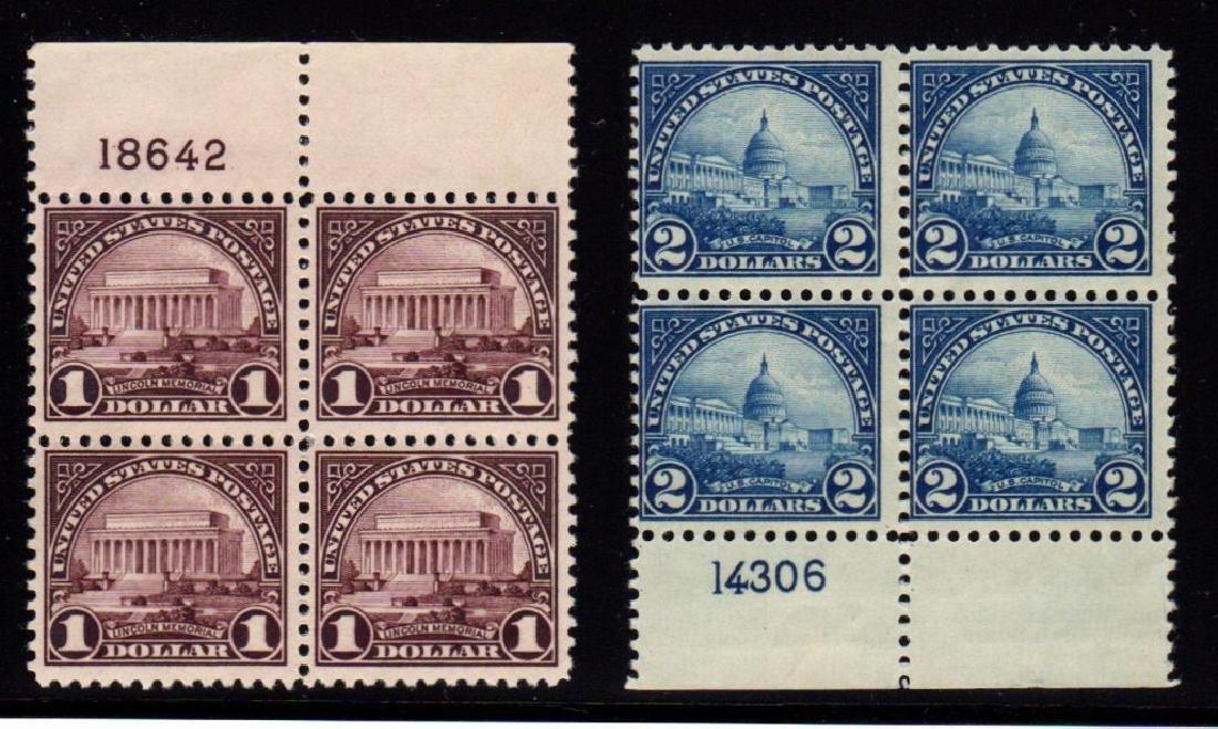 U.S. Scott 571 & 572 Blocks of 4 w/plate #'s NH