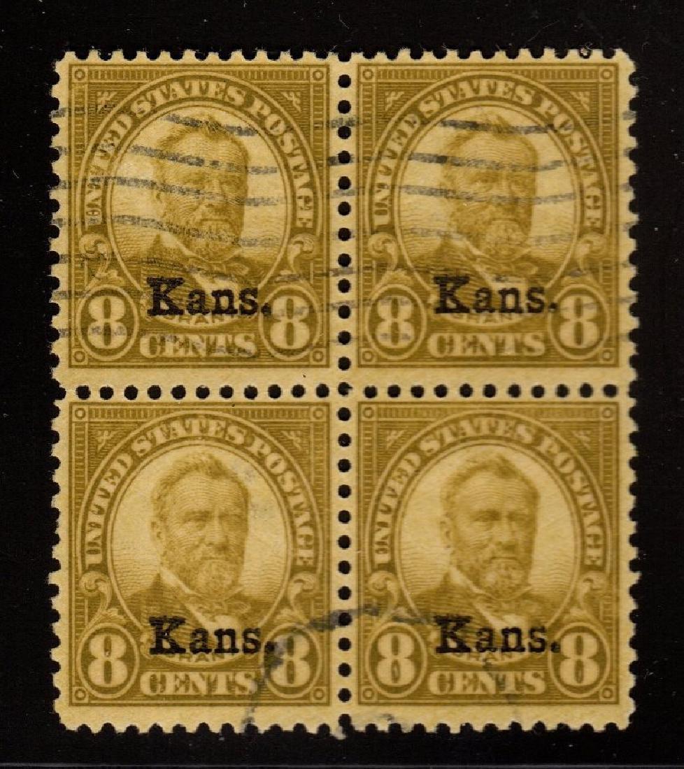 U.S.Scott 666 VF Used Kansas block of 4 SCV.$260++