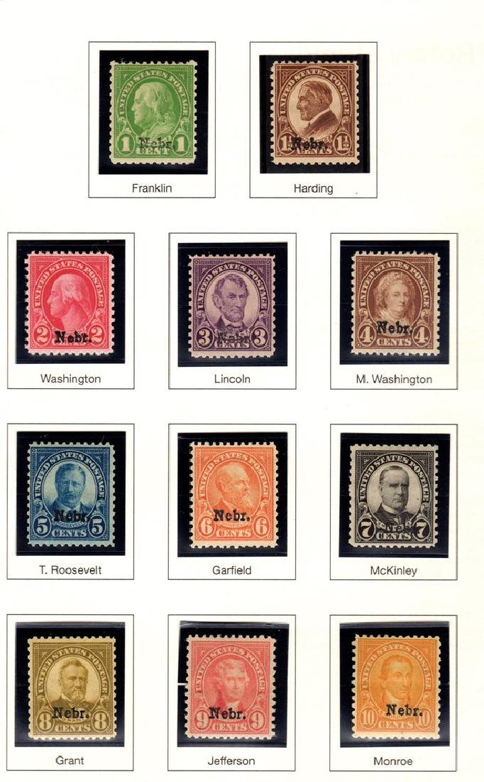 United States Scott 669-679 Nebraska Overprints