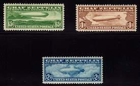 U.S.Scott C13-C15 VF OG VLH Graf Zeppelins SCV.$1105