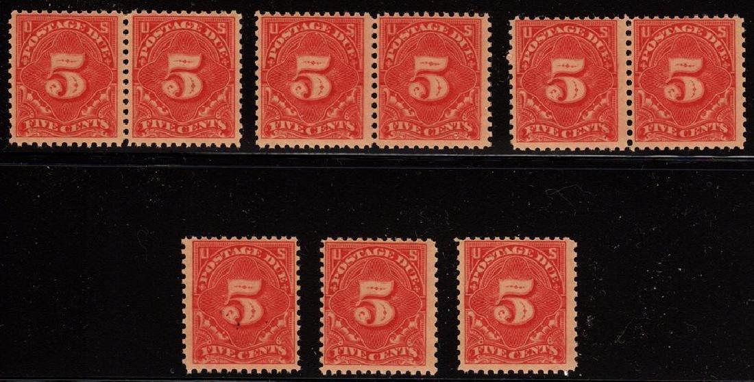 U.S. Scott J63 (9) Fine OG NH Singles & Pairs SCV.$292+