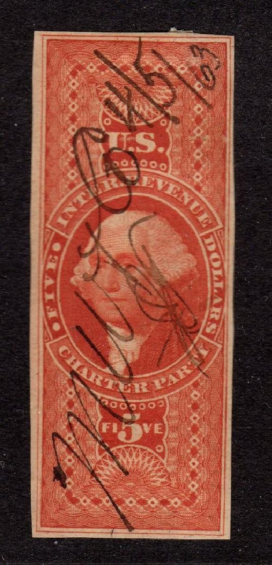 U.S.Scott R88a F-VF Used $5 Charter Party Imperf MS