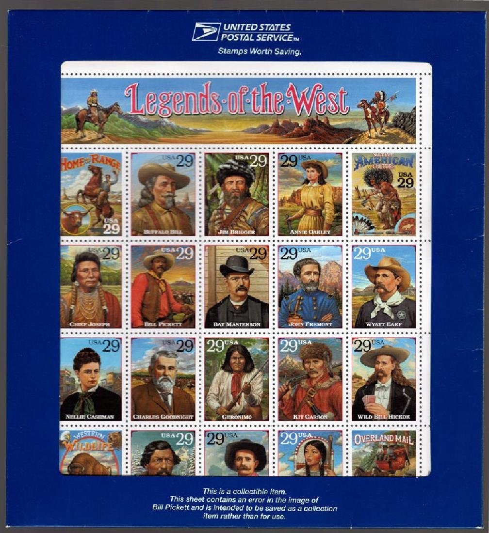 U.S. Scott 2870 Legends of the West Sheet SCV.$190