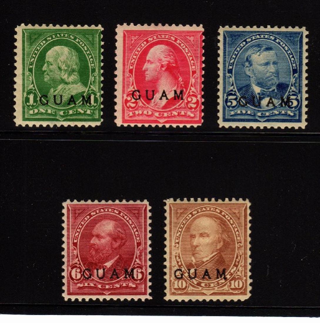 Guam - (5)Unused Stamps Scott 1,2,5.6.8 SCV.$240